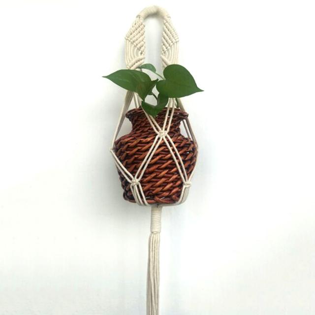 78cm Vintage Macrame Plant Hanger Rope Flowerpot Holder Garden Pot Rope Wall Art