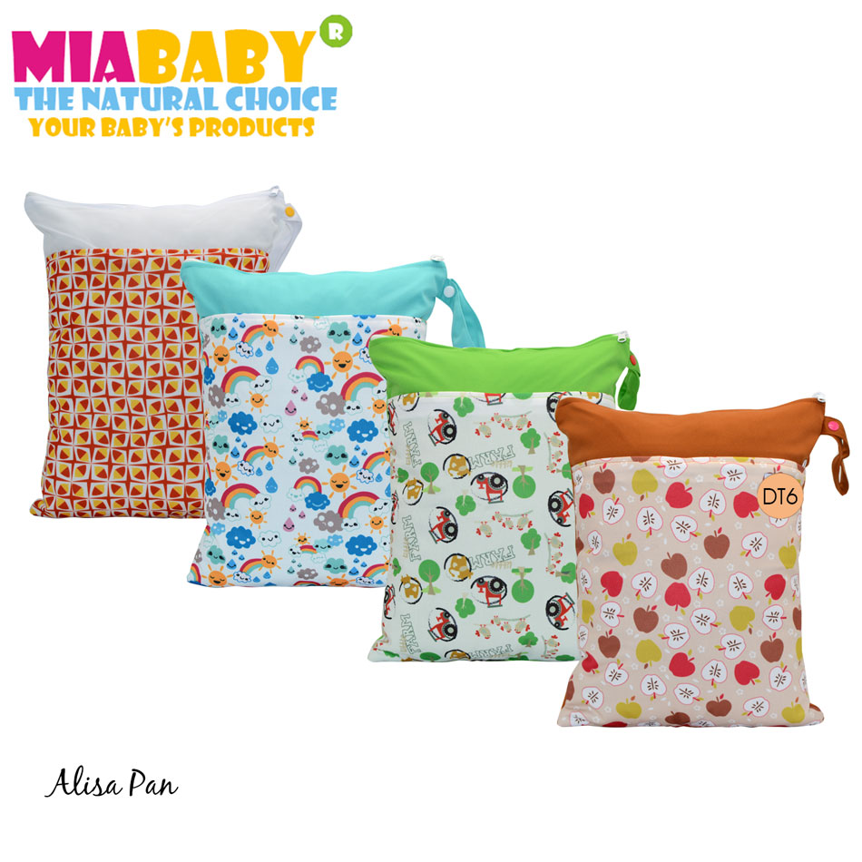 Miababy Dual Pockets Wetbag, Diaper Bag, Dual Zippers With Handle 40x29.5