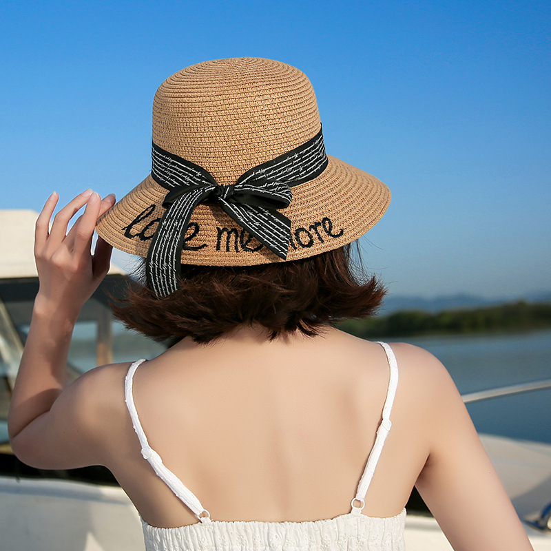 2018 Newly Arrived Summer Retro Handmade Crochet Straw Bow Hat Female Folding Sun Protection Cap Girl Beach Sun Hat Femme