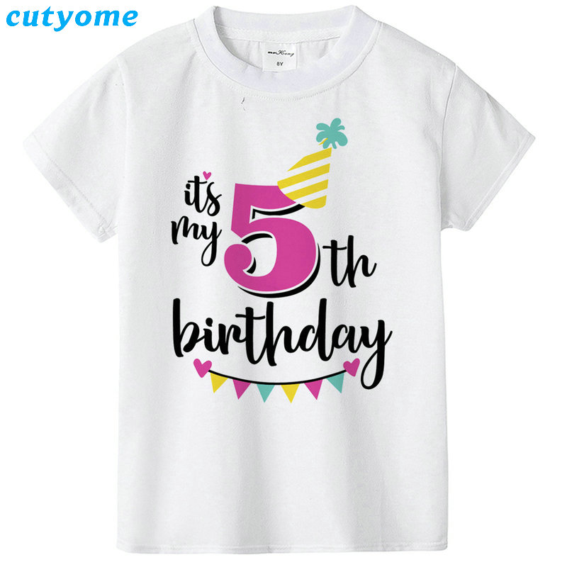 Summer Baby T Shirt Tops Children's Clothing Happy Birthday Girls Boys Short Sleeve Kids Clothes Tee Girls Boys' T-shirts Casual (38)