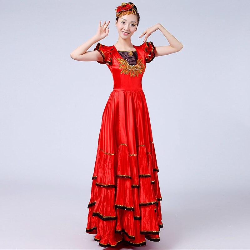 80bc365a2 Rojo de las mujeres traje Flamenco español vestidos de la etapa de la dama  corto manga larga Falda de baile
