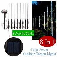 8 In 1 Acryl LED Rvs Zonne-energie Light Outdoor Pathway Tuin Flood Verlichting Gazon Lamp Waterdicht Spot Lights