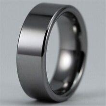 Envío gratis venta caliente 8 MM ancho Shiny Silver tubo personalizada en blanco de los nuevos hombres de moda tungsteno anillo de bodas