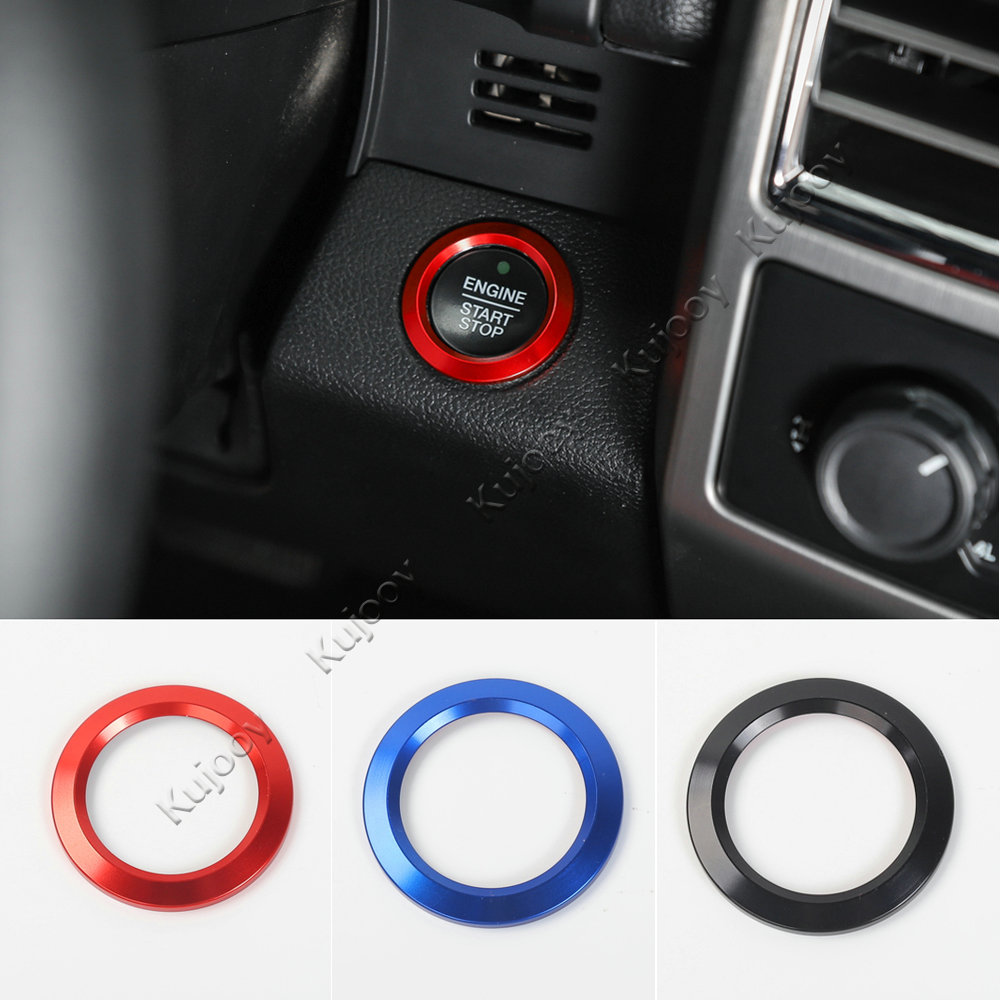 Red/ Black/ Blue Aluminum Alloy Engine Start Button Cover Trim Decor Ring For Ford <font><b>Mustang</b></font> <font><b>2015</b></font> 2016 Car Styling <font><b>Accessories</b></font> image