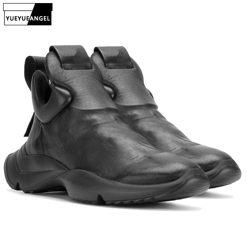 Fashion Men Gothic Thick Platform Sneakers High Top Genuine Leather Shoes Male Slip On Casual Footwar Street Dancing Zapatos sneakers