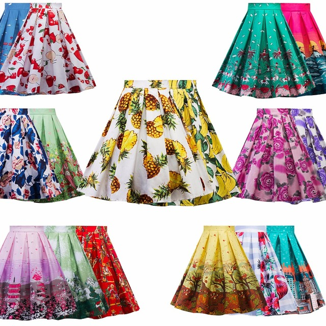 a43a84c9ade8d 50s Floral Skirts Womens faldas Summer Blue Yellow Lemon Plus Size Retro  Casual Vintage Midi Skater