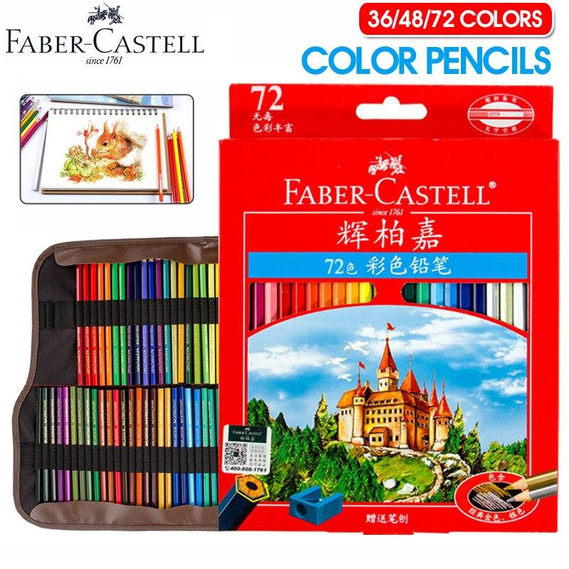 Faber Castell 72 Crayons de couleur Lapis De Cor Professionnels Artiste Peinture À L'huile Couleur Crayon Pour Dessin Croquis Art Fournitures