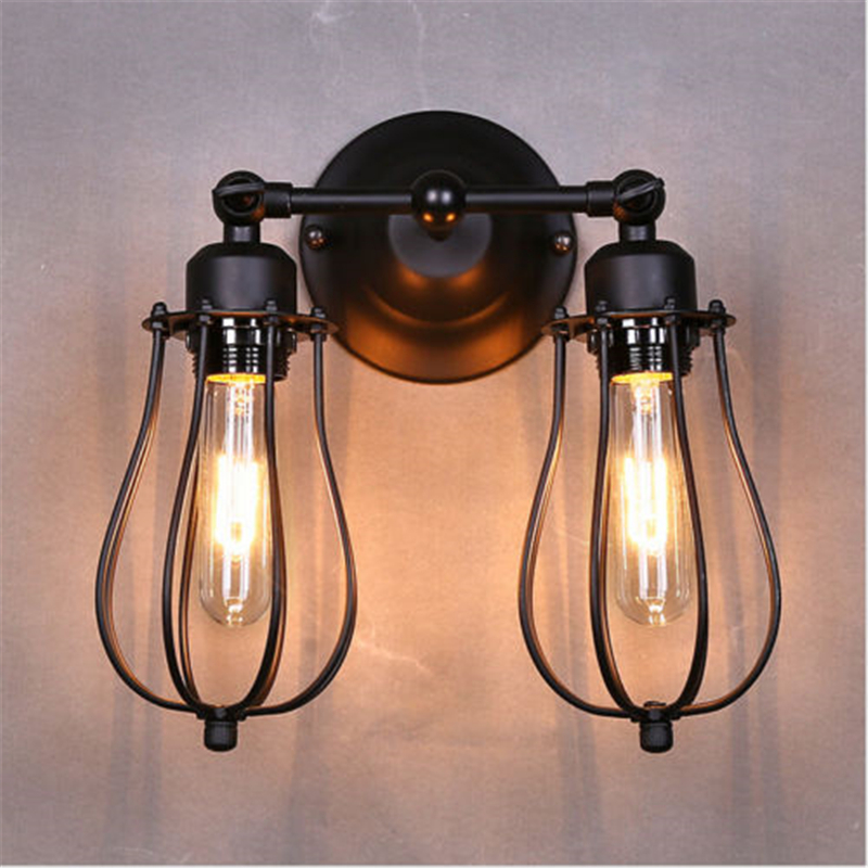 MODERN VINTAGE INDUSTRIAL BLACK LOFT METAL DOUBLE RUSTIC SCONCE WALL LIGHT Bedroom light E27 bulb wall lamp fixture стоимость