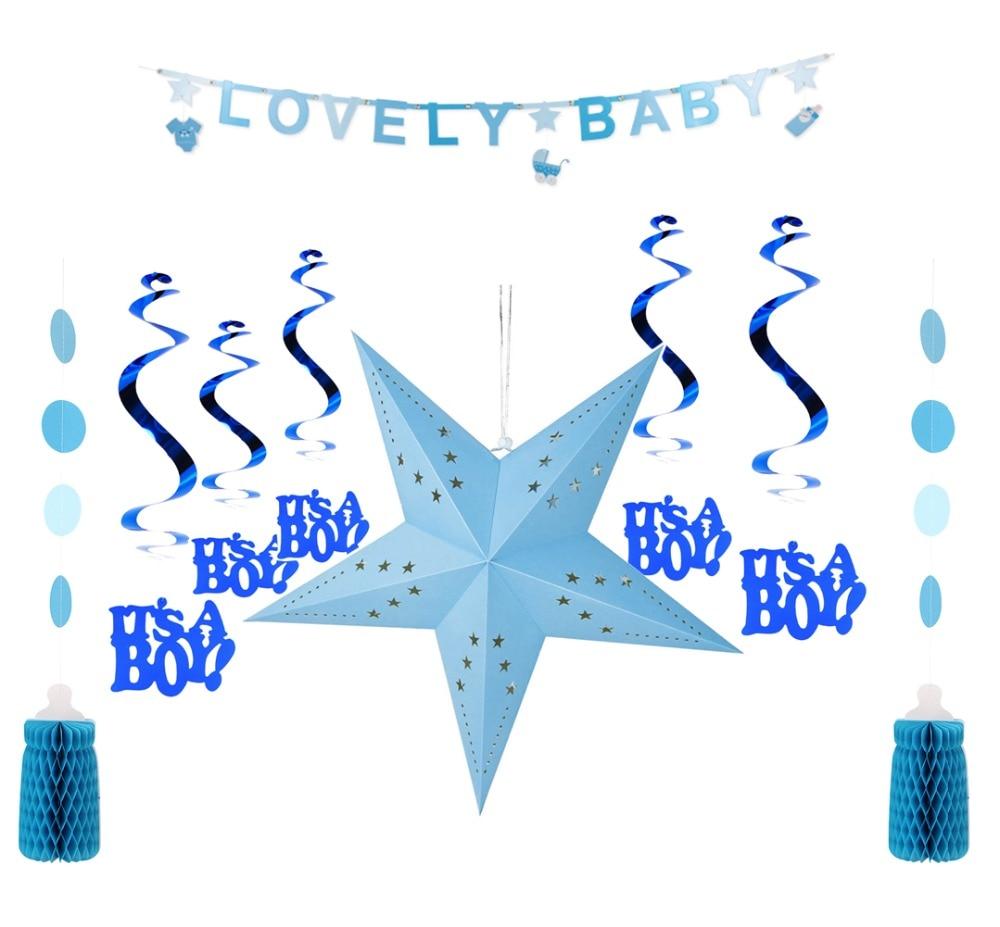 Baby Boy Shower Decoation Set Lovely Baby Banner Its A Boy Swirl Honeycomb Feeding Bottle Garland Paper Star 1st Birthday