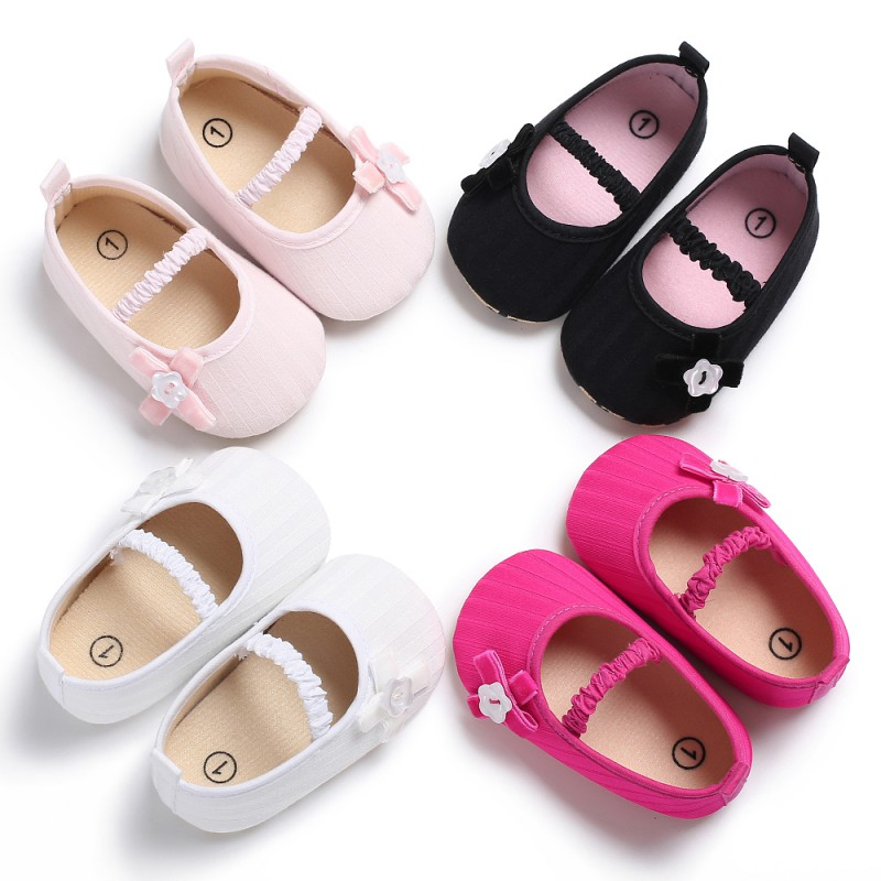 Spring/Autumn Fashion Infant Baby Shoe Cute Girls Shallow Sole Toddler Crib Little Bow Soft Canvas Slip-On Footwear M1