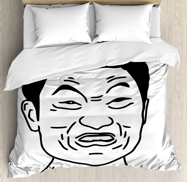 Humor Decor Duvet Cover Funny Impossibru Quote With Angry Asian