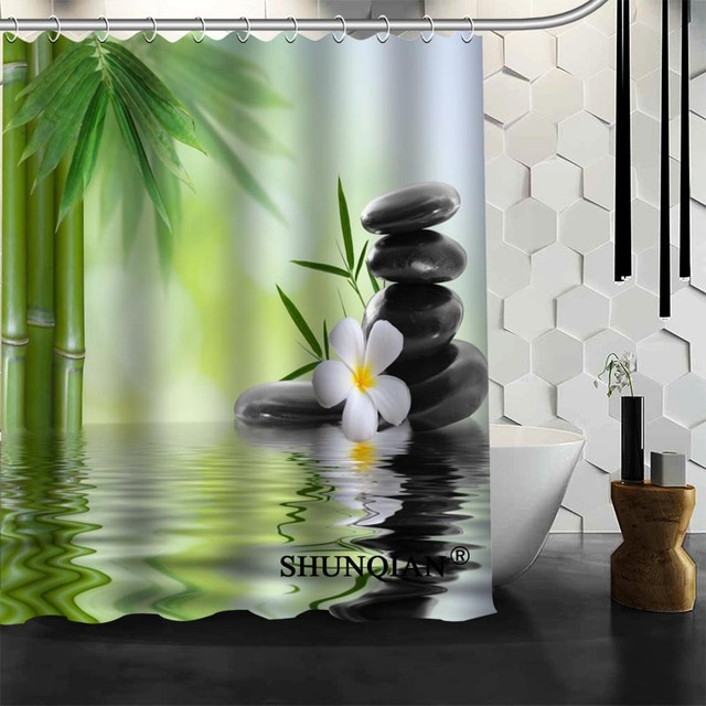 New Bathroom Curtains Zen Stone Shower Curtain Customized Shower Curtain  Waterproof Polyester Fabric Curtain For Bathroom