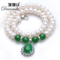 Classic Strand Pearl Necklace For Women 100 Natural Freshwater Pearl High Quality 925 Sterling Silver Plated
