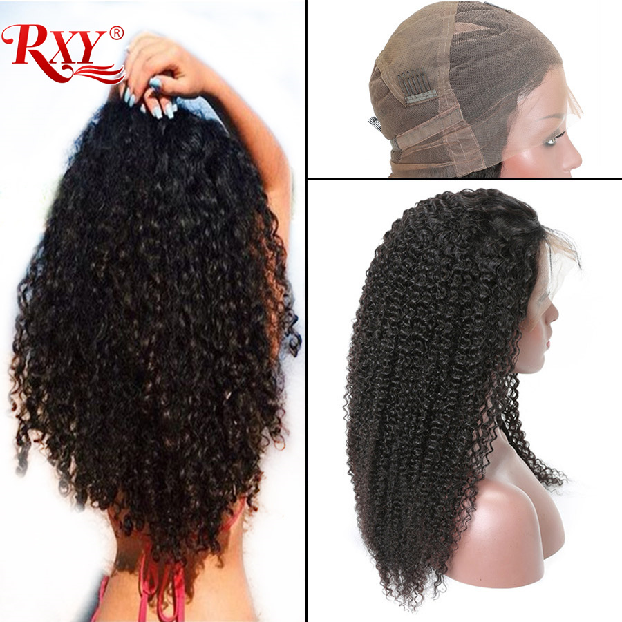 RXY Peruvian Kinky Curly Wigs Pre Plucked Full Lace Human Hair Wigs With Baby Hair Glueless