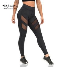 NORMOV Women's Leggings Fashion Big Size Mesh Patchwork Leggings Female Elastic Fashion Workout fitness Leggings Women Summer