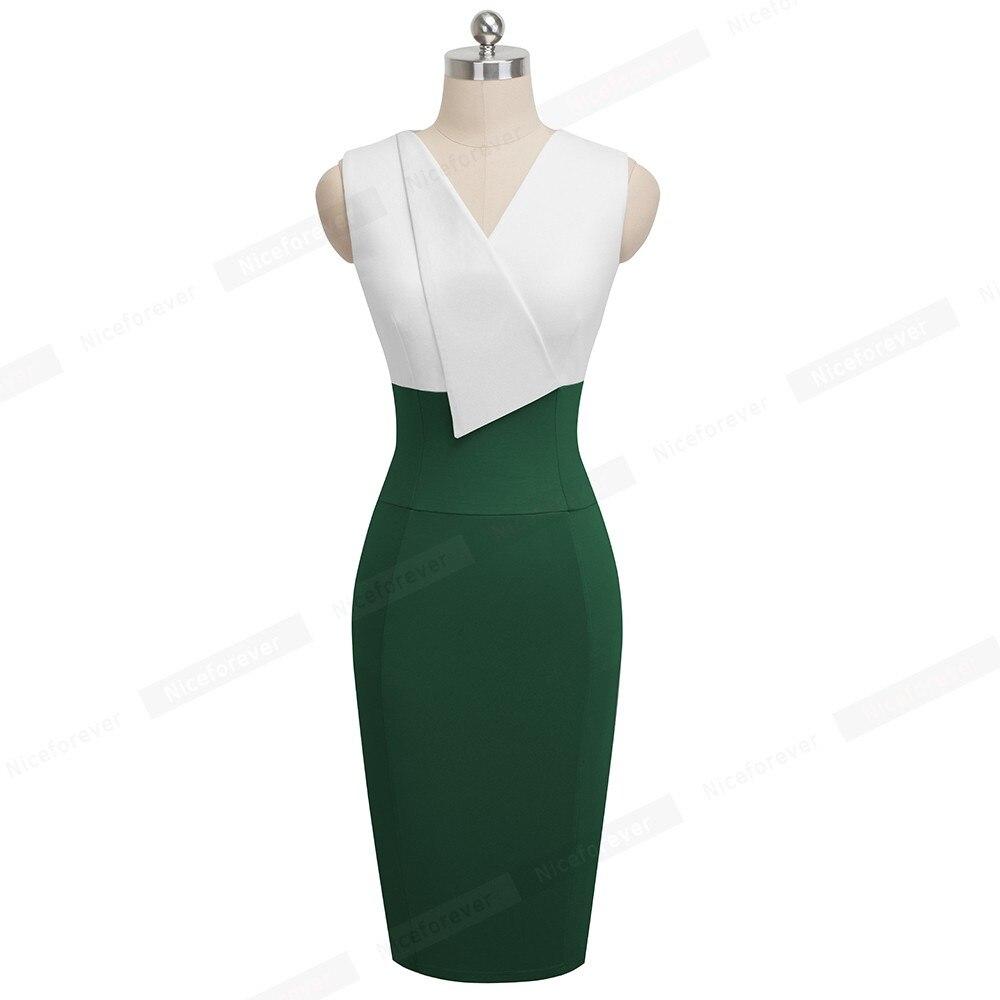 Image 4 - Женское платье Nice Forever, винтажное облегающее платье с оборками для работы в офисе, лето 2019Платья   -