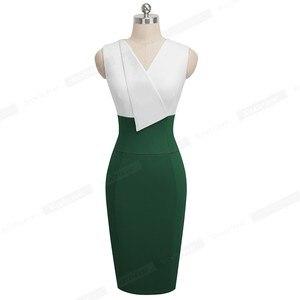 Image 4 - Nice forever vestido elegante para trabalho, feminino, para o verão, colado, vintage, plissado, para escritório, b529