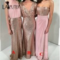 marsala Floor Length Long Bridesmaid Dresses Chiffon Sequin Cheap Wedding Party Dress transformer dress