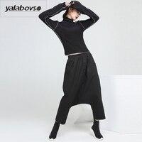 Yalabovso 2018 Bahar Yeni Gevşek Harun 's Için kasık pantolon Kadın Elastik Bel Moda woma için Düğme Patchwork Pantolon