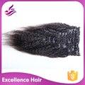 2016 nova vindo indiano virgem cabelo Kinky reta clipe em extensões de cabelo humano para preto frete grátis