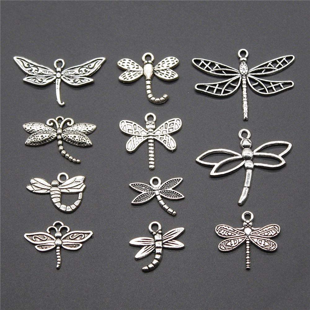 Charms Pendants Jewelry Dragonfly Silver-Color Antique 10pcs