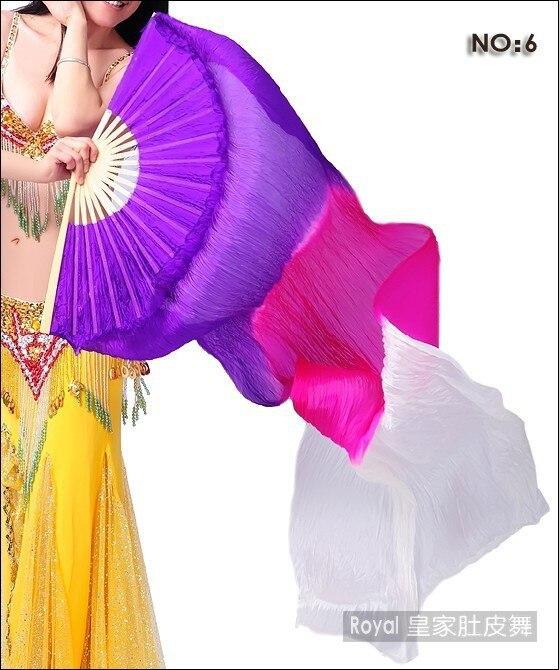 180cm Belly Dance Silk Fan Veils for Pair Purple Rose ...