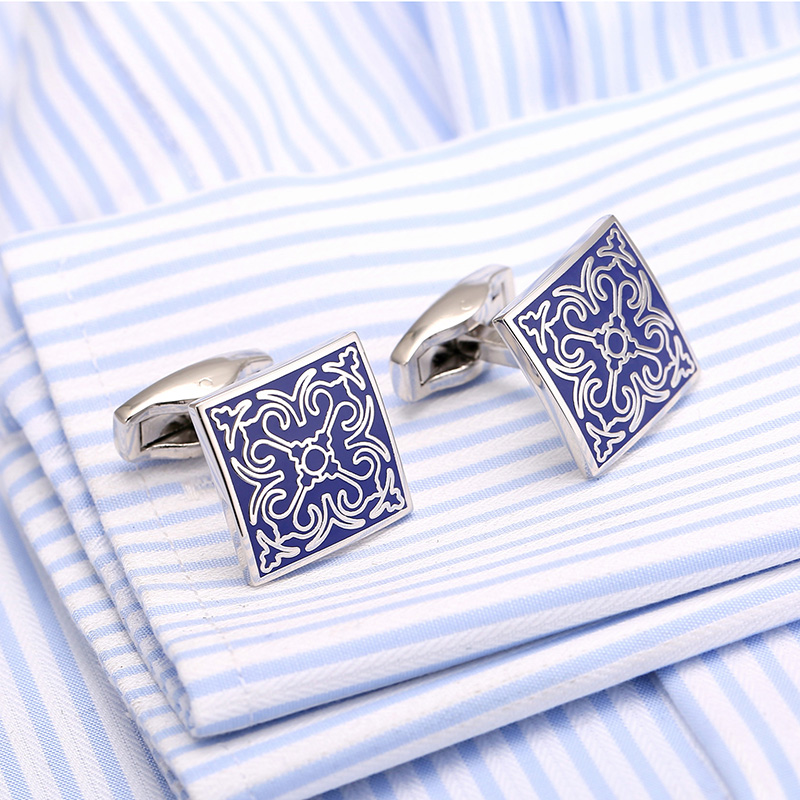 2016 New Style Fashion Blue Painting Cufflink Square Silver- color Men's Cuff links 2017 Fashion Gift French Shirt Cufflink 182