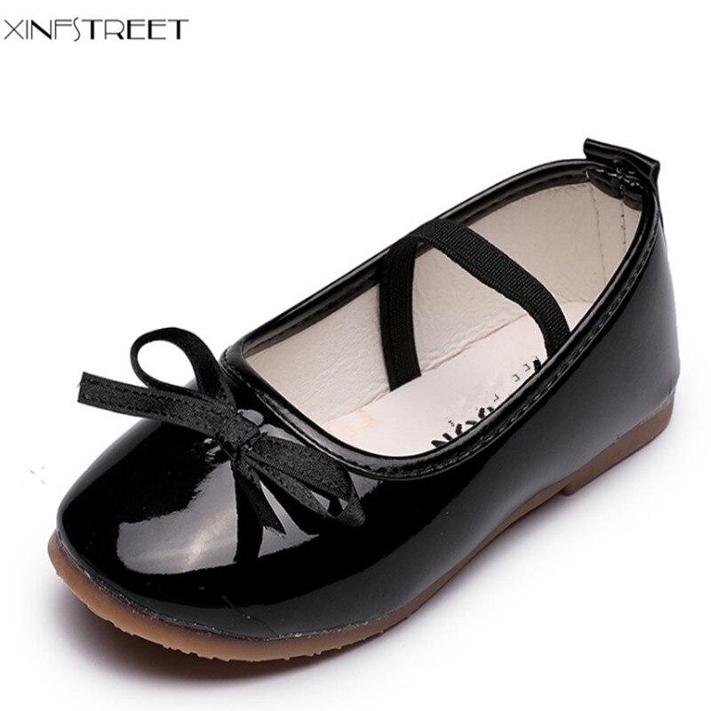 Xinfstreet საბავშვო ფეხსაცმელი გოგონებისთვის შავი წითელი ზომა 21-36 რბილი Bowtie ბავშვის ფეხსაცმელი გოგონები ბავშვები Princess Dance Shoes