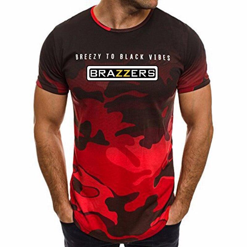 Le nouveau 2018 rouge camouflage BRAZZERS a créé un plein-longueur imprimé casual mode à manches courtes T-chemise.