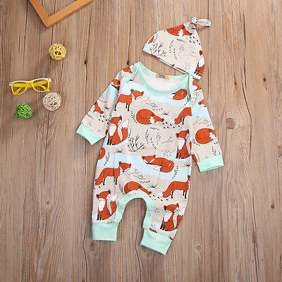 2pcs Baby Set 2017 Newborn Infant Baby Boy Girls Clothes Spring Long Sleeve Fox Print Romper Jumpsuit+Hat Baby Clothes Outfits 2pcs set baby clothes set boy