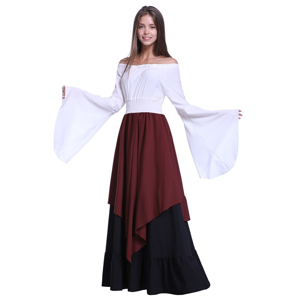 Robe médiévale à l'huile longue Maxi femme rétro robes Renaissance Europe gothique jupe à volants victorienne Costumes d'halloween
