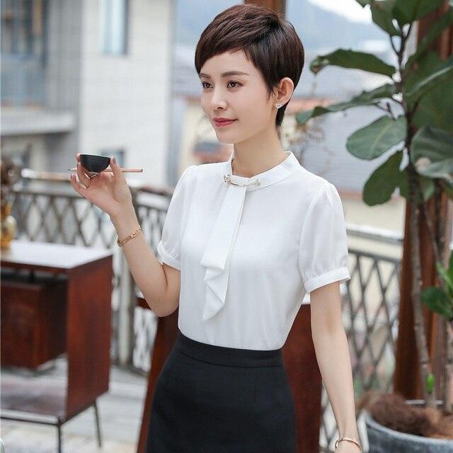 40079d5b4e93 € 16.32 5% de DESCUENTO|2018 nuevo de verano de las mujeres de la moda  blusas y camisas con corbata, manga corta, color blanco de oficina uniforme  y ...