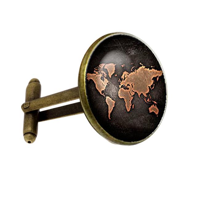 Silver Plated Antique World Map Vintage Cufflinks