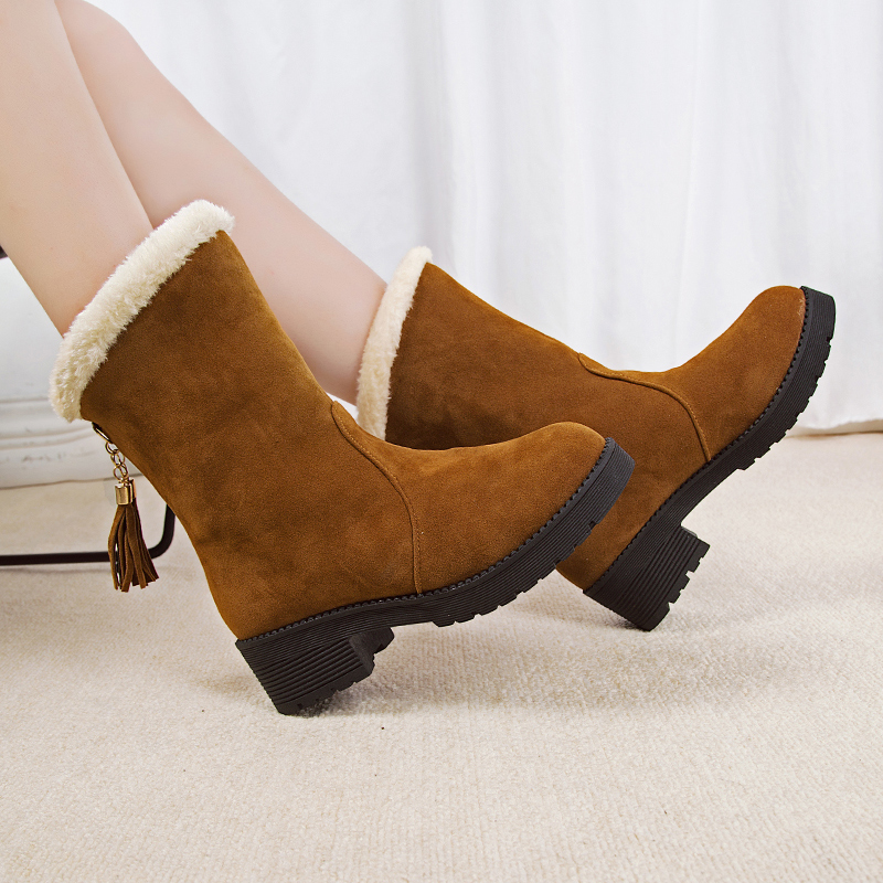 Women Boots 2018 New Fashion Flock High-heeled Platform Ankle Up Tassel Autumn Winter Shoes for Boots Warm Botas Mujer цена 2017