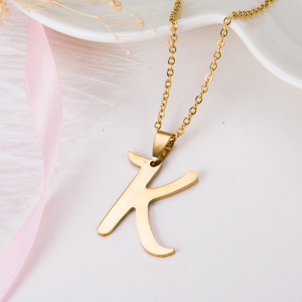 WANDO Golden Stainless Steel Letter K Necklace Pendant Ethiopian Indian  French Jewelry Jewelry Name Gift-in Pendants from Jewelry & Accessories on  ...