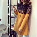2016 Winter Korean pregnant women fashion big yards long section long-sleeved lace dress stitching A word skirt
