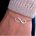2016 Simple Fashion Silver Gold Plated Chain Bracelets Infinity Bracelet Eight Shape Charm Bracelets Bangles For Women Pulseras