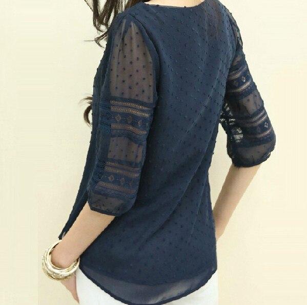 Women Fashion Lace Shirt 2018 Summer Chiffon Blouse Tops Half Sleeve O-Neck Lace Casual Blusa Tops