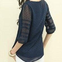 Women Fashion Lace Shirt 2015 Summer Chiffon Blouse Tops Half Sleeve O-Neck Casual Blusa