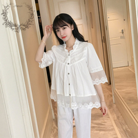 2017 New Summer Women Pajamas Cotton White Cute Lace Princess Sleepwear Thin Three Quarter Sleeve Female