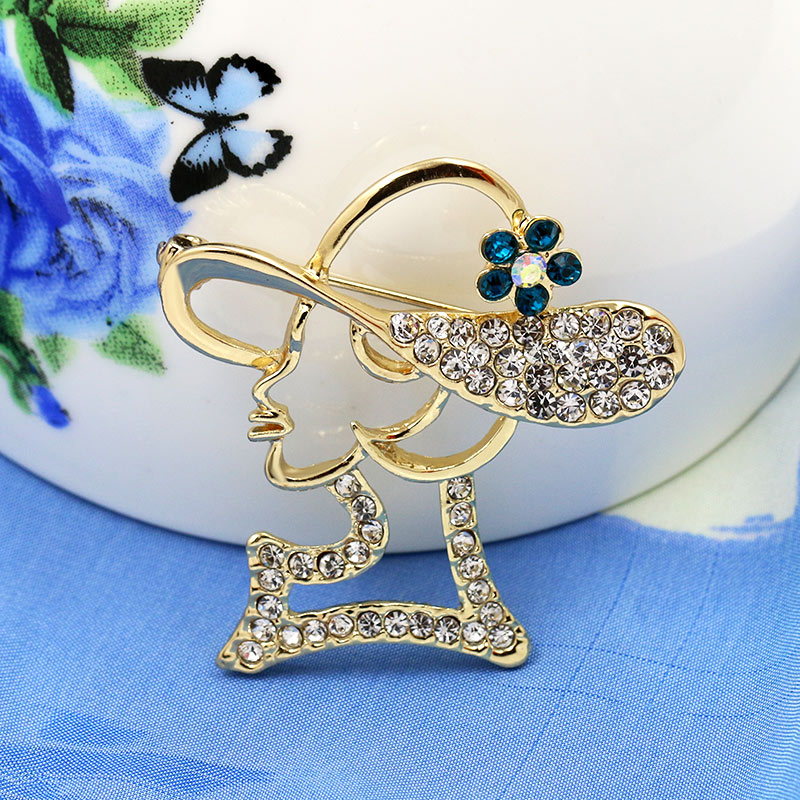 Factory Direct Sale Elegant Crystal Rhinestones Lady with Hat Brooch Pins in assorted colors
