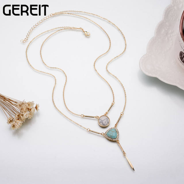 470319bdf5 European Steampunk Gold-color Double Layer Chain Pendant Necklace Blue  White Faux Marble Stone Geometric Crystal Charm Necklace