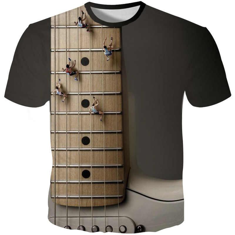 YOUTHUP 2019 Новые мужские футболки гитара 3D печатные футболки Уникальный дизайн футболки смешные модные летние футболки