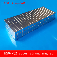 16PCS/lot 20*7*5mm Super strong rare earth neodymium magnet N50 N52