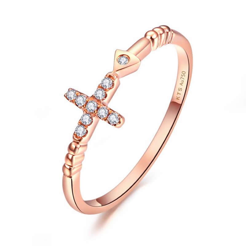 Authentic AU750 Rose gold cross Ring fashion cute casual ring 1.08-1.15g new pure au750 rose gold love ring lucky cute letter ring 1 13 1 23g hot sale