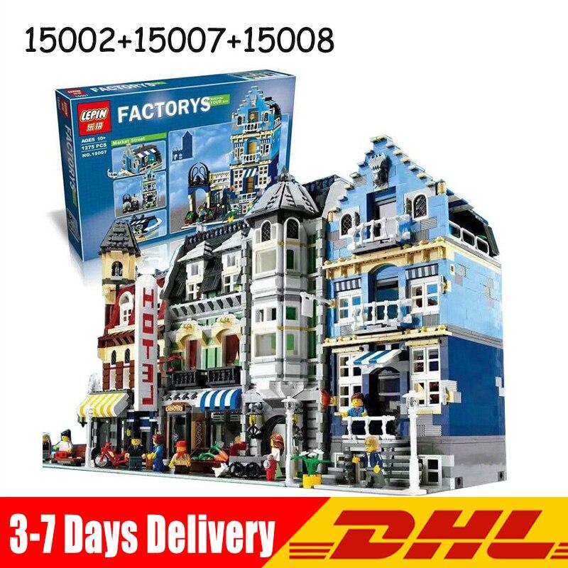 Lepin 15002 2133 Pcs Cafe Corner +15007 1275 Pcs Market Street +15008 2662 Pcs Green Grocer Toys Gifts Clone 10182 10190 10185 конструктор lepin кафе на углу 2133 дет 15002