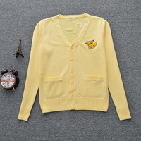 New Arrival Women JK Uniform Cardigans Japanese Student Cotton Knitted Light Yellow Cardigan Sweaters with Pikachu Embroidery
