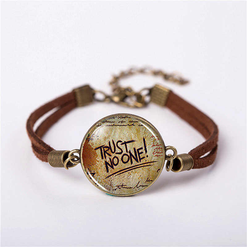 New Bracelet Gravity Falls Mysteries Party Time God Trust No One Jewelry Fashion Leather Bracelet Gift Women Chain Men Necklace
