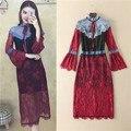 Высокое качество все кружева стенд воротник длинным рукавом designer dress женщины люкс 2017 контрастность цвет красный кружева midi платья лук милые