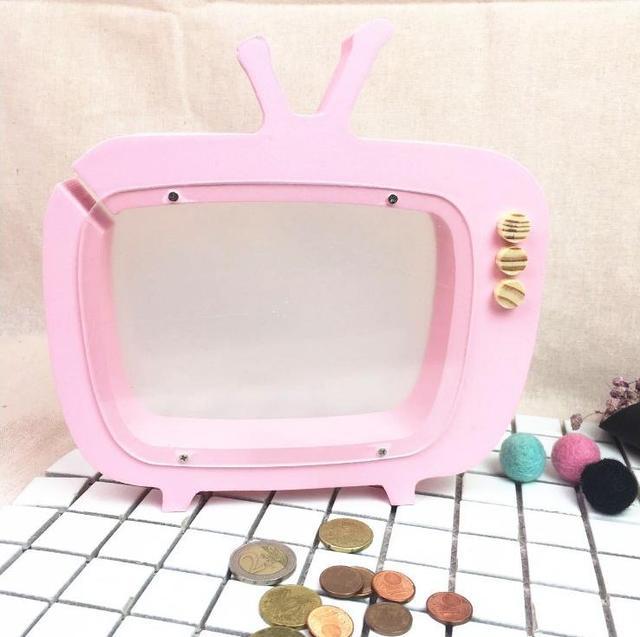Fesselnd Kreative Holz Handwerk Neue TV Sparschwein Kinderzimmer Dekoration  Geburtstag Kind Geschenk 3 Farben Dekoration E547